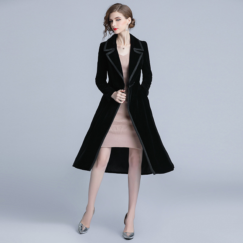 Black Velour Slim Tunic Long   Trench   Coat Elegant Vintage Office Party Fashion Casual Outerwear 2019 Spring Clothing