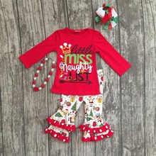 girls Christmas new design X-mas outfits baby little miss naughty  list red top with  Santa Claus ruffle pants with accessories