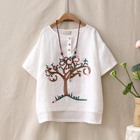 Retro Cotton Linen Embroidery Tree Pattern T Shirt Female Loose Casual Round Neck Short Sleeved Summer