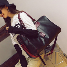 Black Pu Leather Sports Gym Bag Big for Women Fitness Outdoor Men's Gymnastic Bags for Shoes Handbags Over the Shoulder