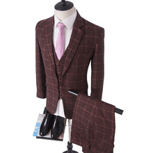 Custom Made Wine Red Costume Homme Ternos Slim Fit Winter 3 Piece Men Suits Business Groom Tuxedos Wedding Tweed Suit(China)