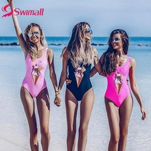 2019 Sexy One Piece Swimsuit backless Women Print Vintage Swimwear Bathing Suits Summer Beachwear Monokini Swimsuit frilled trim tribal print backless slit swimsuit