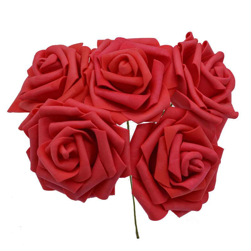 Venta 10/20 cabezas 8CM nuevo artificiales de espuma de PE flores rosas ramo de novia hogar flores boda decoraciones Scrapbooking DIY flor