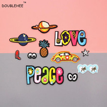 DOUBLEHEE Beautiful Universe Loves Peace Patches Embroidered Iron On Patch For Clothing Sticker Badge For Clothes Bag Pants цена и фото