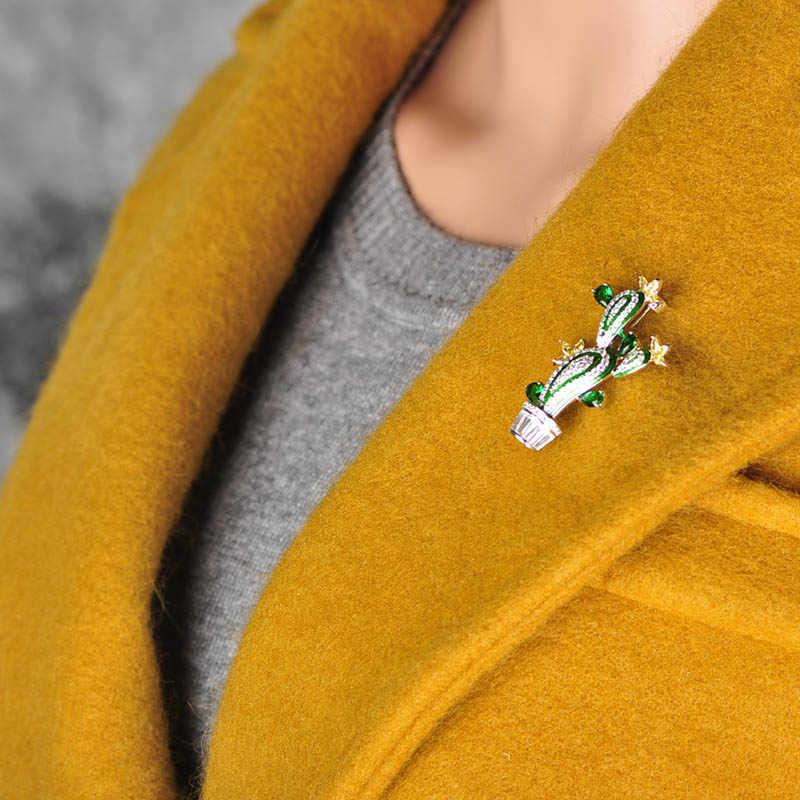 Funmor Kaktus Bentuk Tanaman Bunga Bros untuk Wanita Pria Kubik Zircon Pesta Pernikahan Perhiasan Jilbab Pin Pakaian Suit Aksesoris