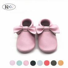 1 Pair of Baby Bow Moccasins Shoes Girls Dress Shoes High Quality Soft Leather Newborn Baby Girls Boys First Walkers Shoes(China)