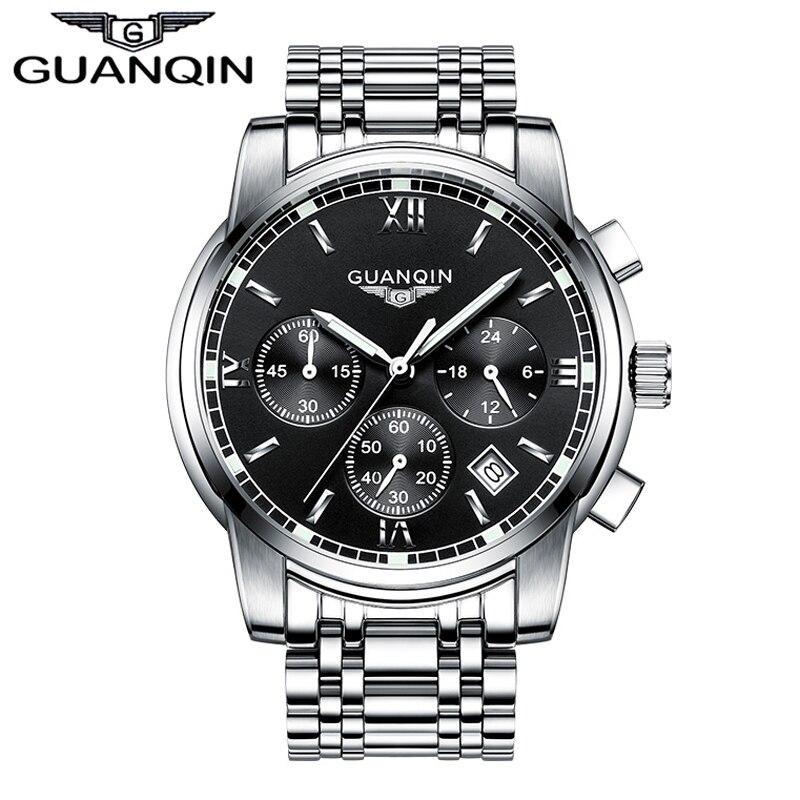 ФОТО GUANQIN GS19018 watch Men Business Top Brand Silver Steel Quartz Watch Luminous Sport Clock Men's Fashion Casual Wristwatch