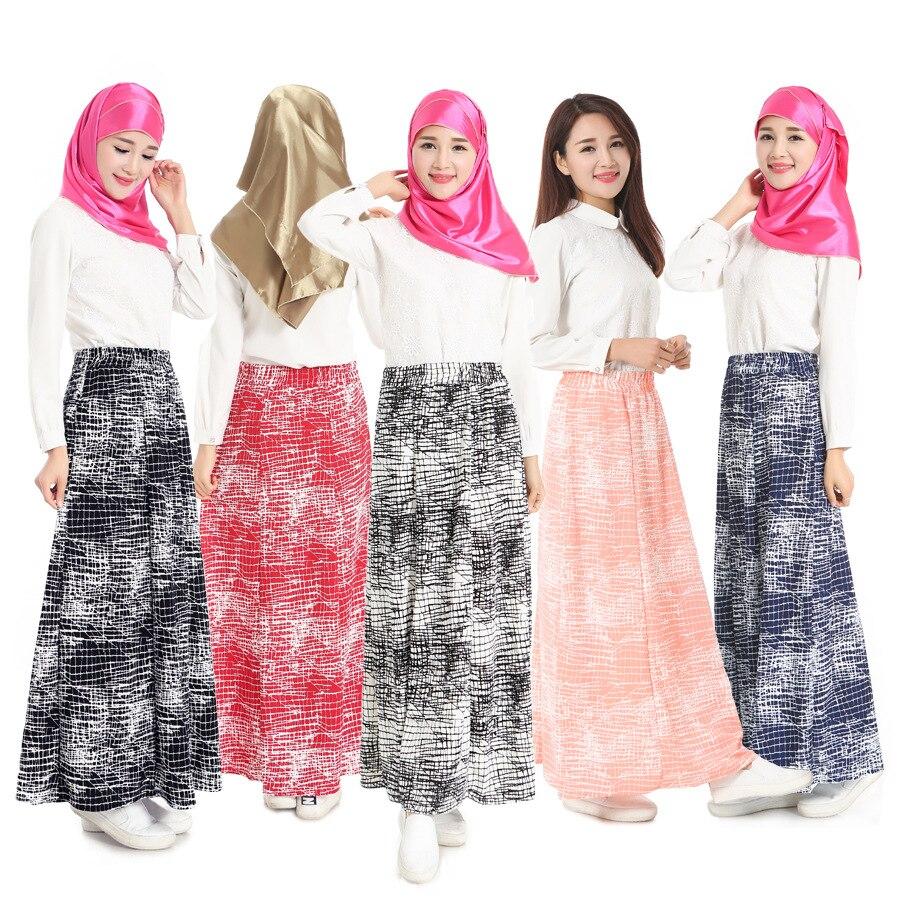2016 New Arrival Muslim long skirt for Women chiffon maxi dress Islamic ladies dubai arab traditional clothing bottoms