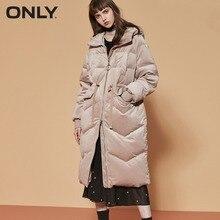 ONLY  womens' winter new velvet hooded drawstring down jacket Waist drawstring design Raglan sleeve|118312545 epaulet design multi pocket drawstring waist jacket