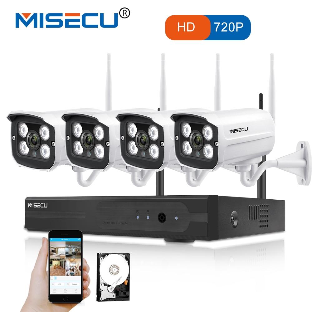 MISECU Facile installation plug play 2.4g wifi KIT 720 p 1080 p VGA/HDMI 4CH NVR Sans Fil P2P 720 p WIFI IP Caméra Étanche CCTV