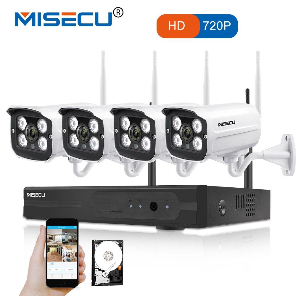MISECU Facilità di installazione plug gioca 2.4g KIT wifi 720 p 1080 p VGA/HDMI 4CH NVR Wireless P2P 720 p del IP di WIFI Della Macchina Fotografica Impermeabile del CCTV