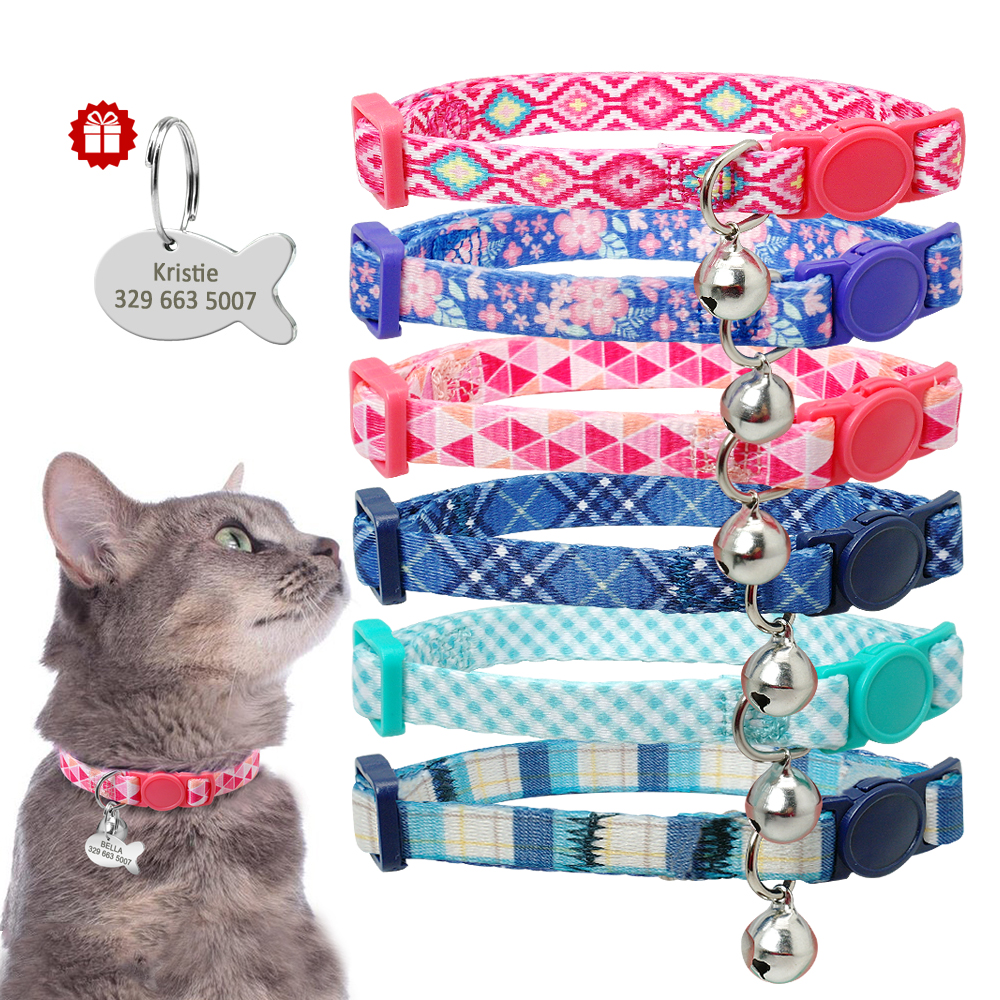 Kitten Cat Collar Personalized Cat ID Tag Collar Quick Release Pet Collars Breakaway Necklace Customized Fish Name Tag With Bell in Cat Collars Leads from Home Garden