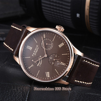 42mm parnis coffee dial rose case power reserve ST1780  date automatic men watch