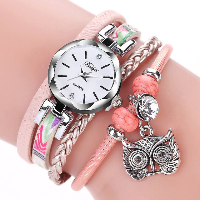 07741bb12 Duoya Retro Owl Pendant Watch Women Fashion Bracelet Leather Winding Small  Quartz Wrist Watches Ladies Diamond Dress Clock #Zer