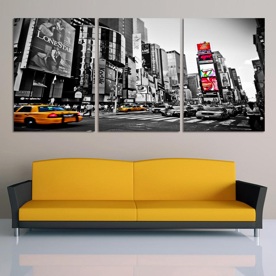 Fashion Home Decor Canvas 3 Piece Wall Art Picture City Night Print Painting Modern Decoration No Frame By Numbers