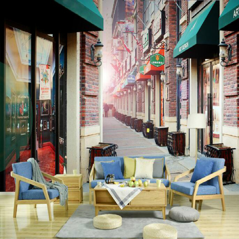 European style romantic village retro alley street block large murals wallpaper bedroom painting television background wallpaper