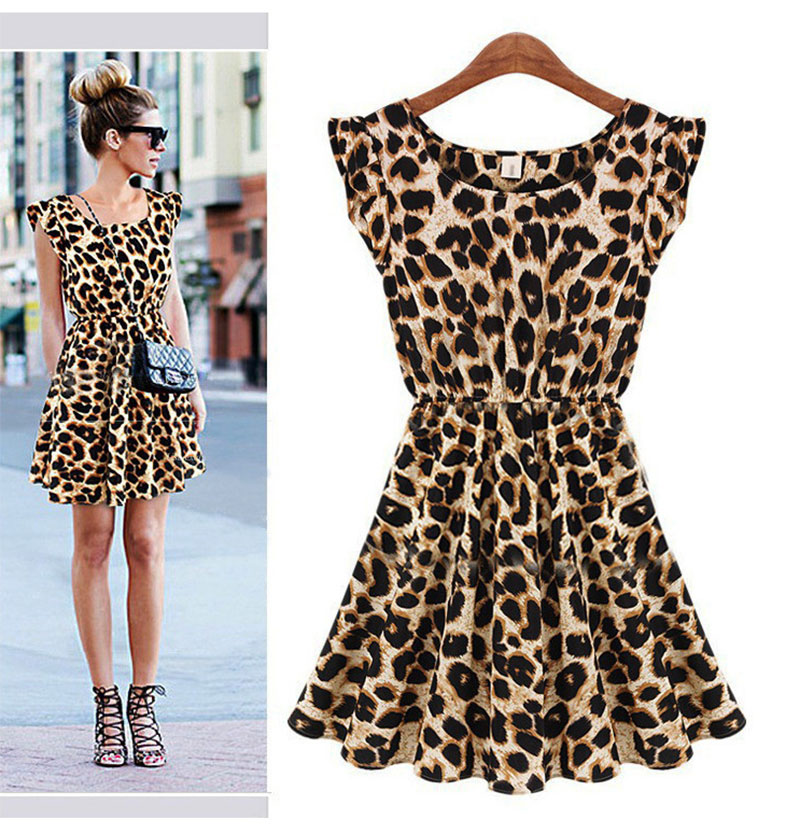 2019 Summer Fashion Women O Neck Casual Sexy amp Club Leopard Chiffon Dress Pleated Sleeveless Empire One piece Dress in Dresses from Women 39 s Clothing