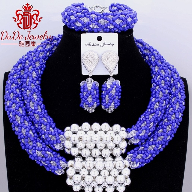 2017 Christmas Jewelry Sets 2 Layers African Nigerian Wedding Jewelry Set of beads Dubai Royal Blue and White Necklace Set Hot