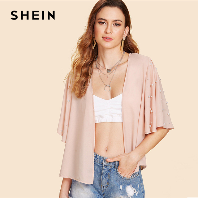 ef110951a7 SHEIN Pink Elegant Pearl Beading Bell Half Sleeve Kimono Without Bralette  Summer Women Weekend Casual Blouse Top