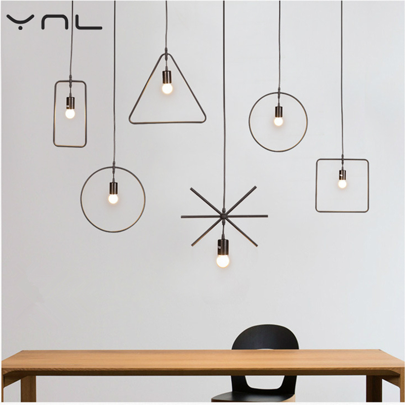 Modern new geometric graphic restaurant bar for pendant lamp black pendant lamp chandelier ceiling Fixtures Lustres