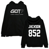 2016 new style hip hop kpop Got7 Jackson Men fall winter fashion hooded sweatshirts high k pop fleece hoodie hat