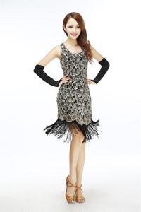 Image 4 - 여자 1920 년대 스팽글 페이즐리 무늬 민소매 레이서 백 플래퍼 블랙 골드 드레스 섹시한 프린지 그레이트 개츠비 파티 드레스