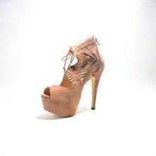Sexy Suede Women's Stiletto Heel Peep Toe Sandals Shoes chaussure femme 2015 Ankle Wrap Women Fashion Comfortable Shoes