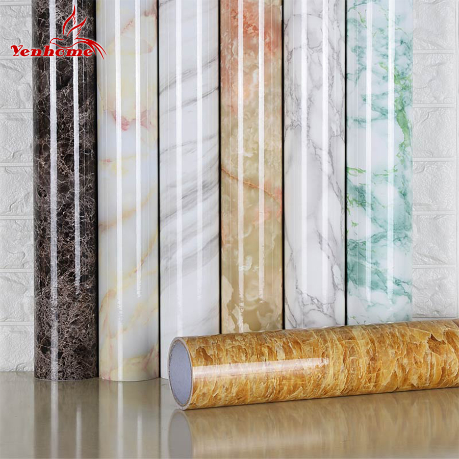 3M/5M/10M Marble Stickers Waterproof PVC Self adhesive Wallpaper For <font><b>Kitchen</b></font> Cupboard Countertop Table Wall Stickers Home Decor