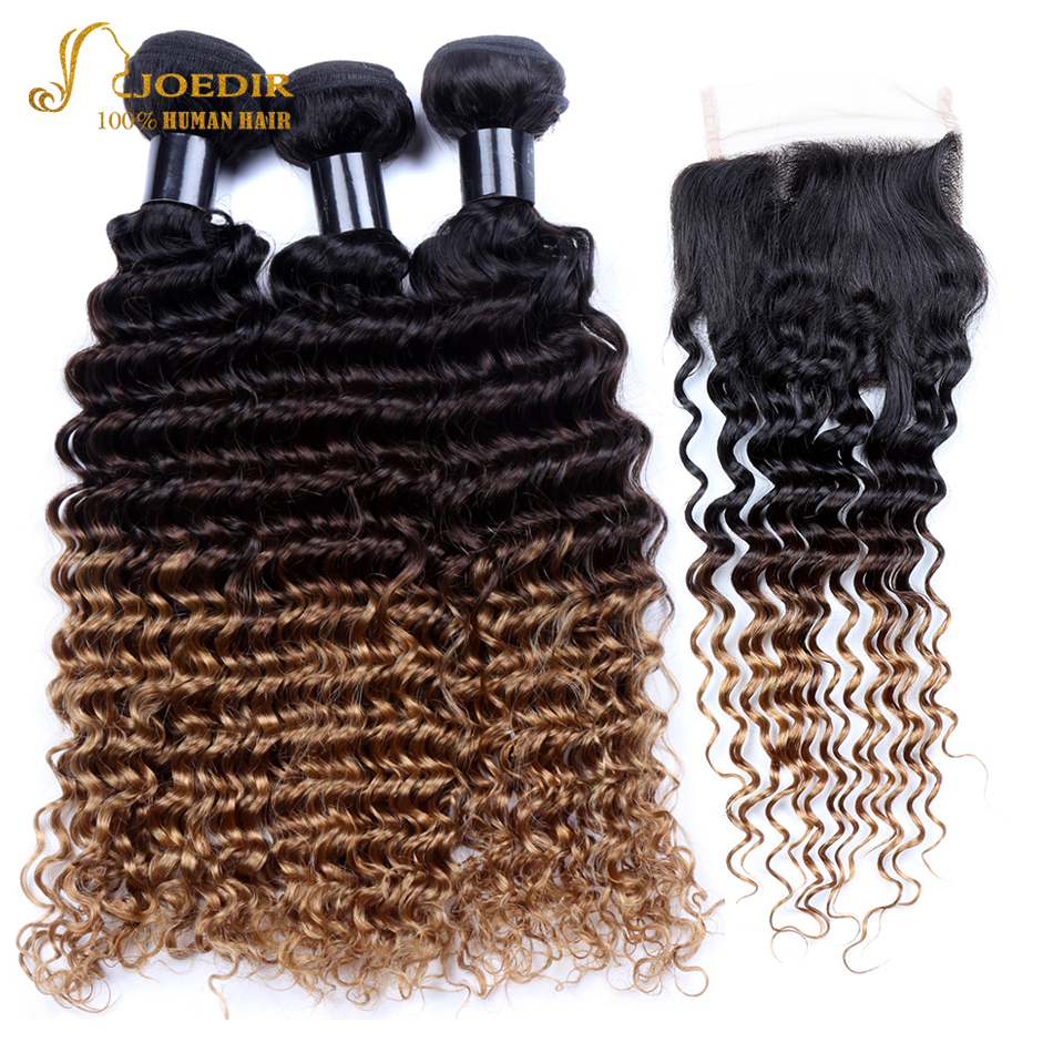 Joedir Deep Wave Peruvian Hair Weave 3 Bundles with Lace Closure Free Part Ombre Human Hair Weave with Closure 1B/4/27 Remy Hair