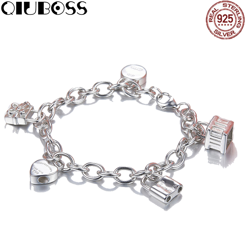 QIUBOSS TIFF 925 Sterling Silver Heart & Key Bracelets Love Letter Fashion Rose Gold Color Women Charm Jewelry Free Shipping все цены