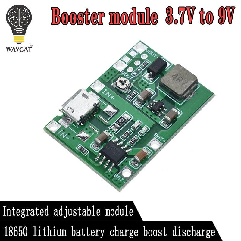 WAVGAT Lithium Li-ion 18650 3.7V 4.2V Battery Charger Board DC-DC Step Up Boost Module TP4056 DIY Kit Parts