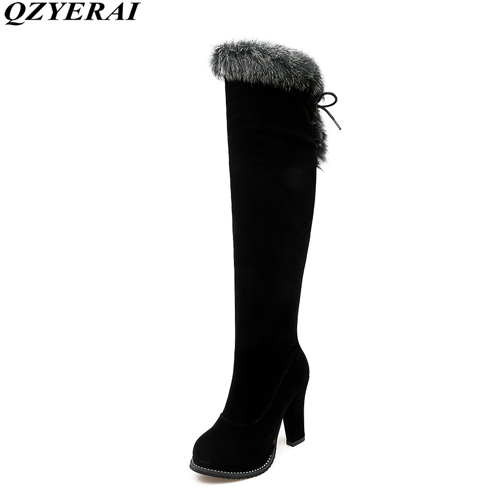 QZYERAI 2018 the new fashion lady knight boots high-heeled rabbit hair winter shoes winter warm and comfortable large size34-43 the law and the lady