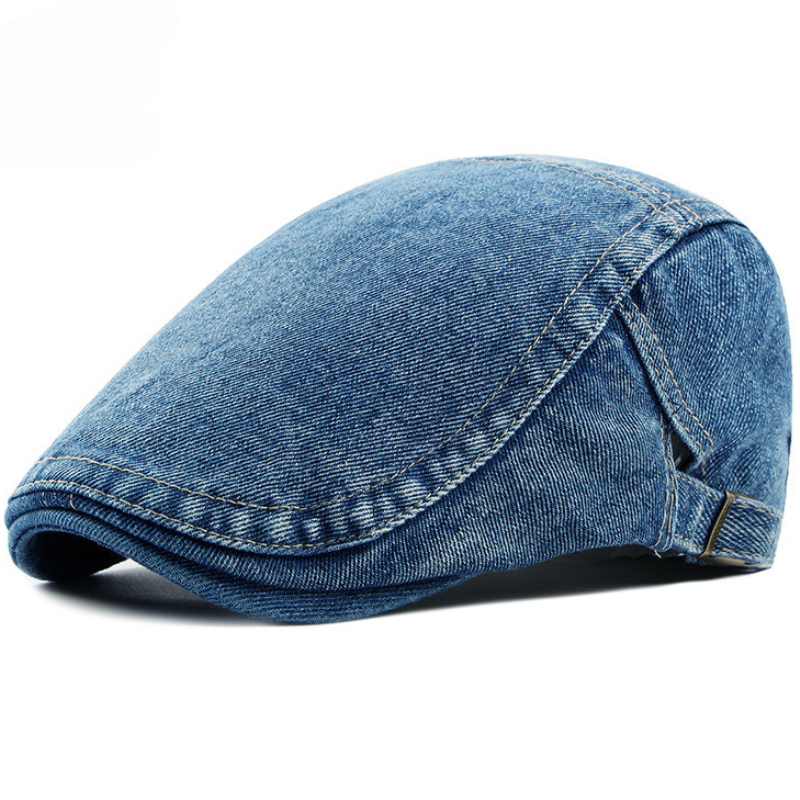 HT1193 Adjustable Men Beret Spring Summer Sun Breathable Bone Brim Flat Hats Women Herringbone Solid Cap Demin Ivy