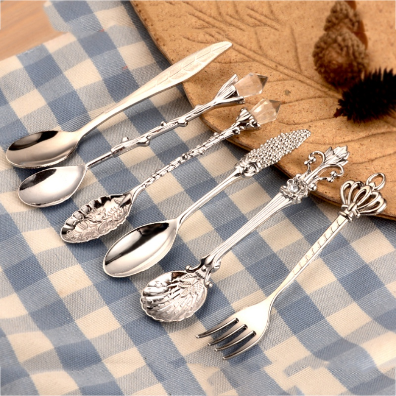 6pcs mini spoon coffee accessories Fork Royal Style Metal Carved Mini Coffee Spoons vintage ...