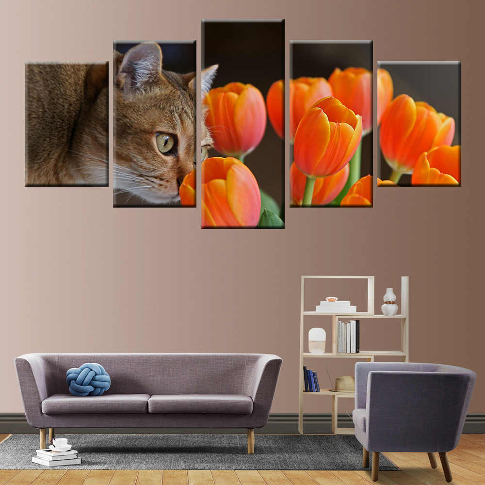 5 panel HD printing modern home decoration wall art cat fish poster canvas painting children room bedroom decoration painting