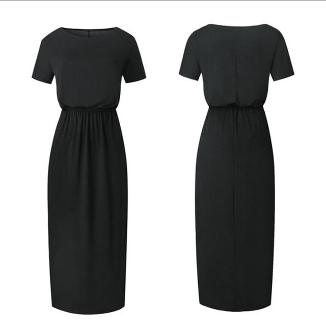 Women Boho Maxi Dress Short Sleeve Side Slit Dress 5