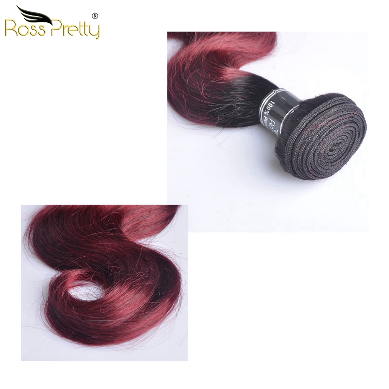 Ross Pretty Hair Ombre Color 1b 99j Brazilian Hair Body Wave Human Hair Extension High Quality 3pcs Remy Hair bundles