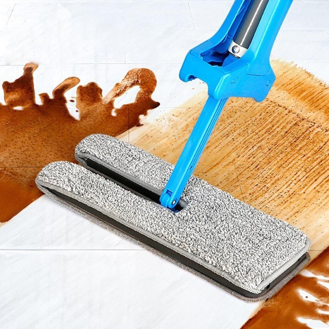 Double Face Plat Lazy Mop Degrés De Nettoyage Vadrouille Auto - Plinthe carrelage et tapis caoutchouc duster