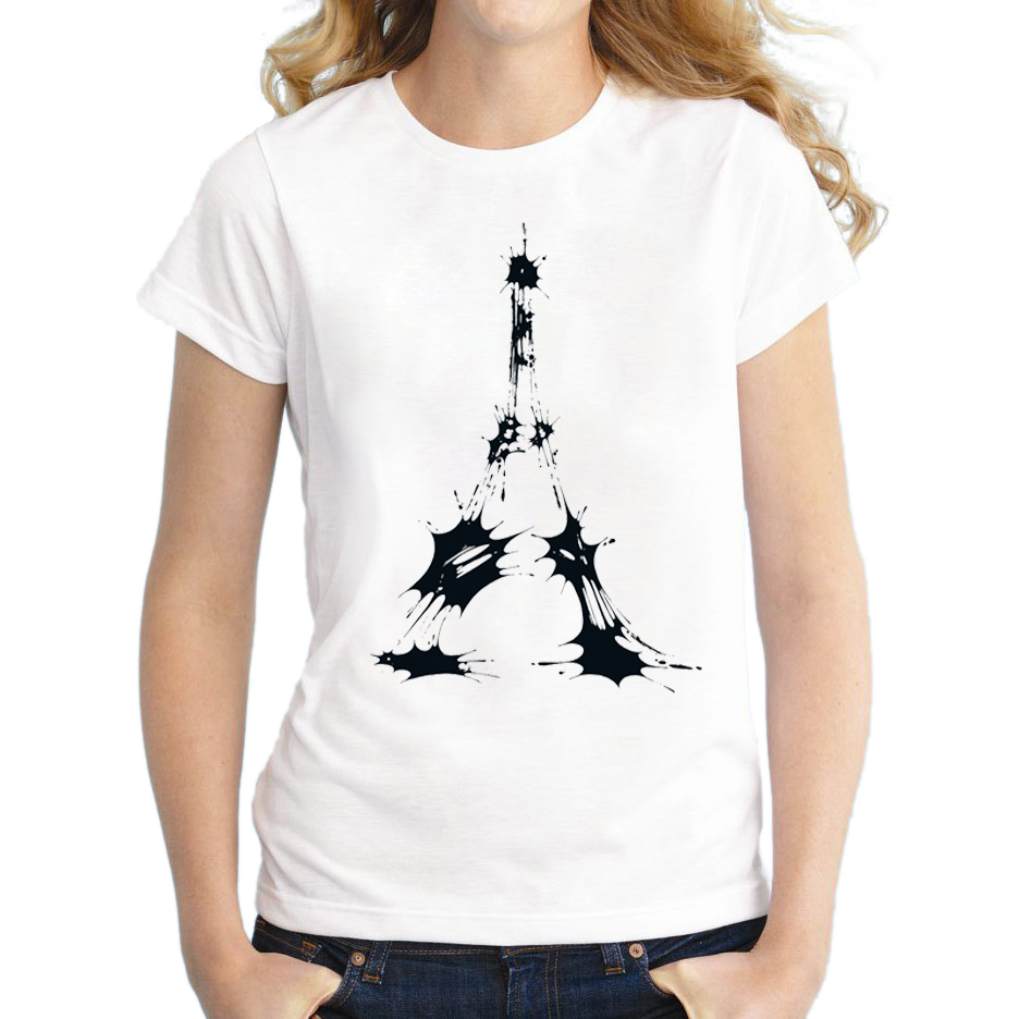 2016 Newest Women Short Sleeve T Shirt Fashion Eiffel Ink