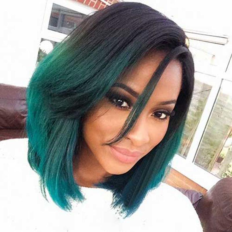 Medium Length Ombre Green Bob Wig Black Women Hairstyles Cheap
