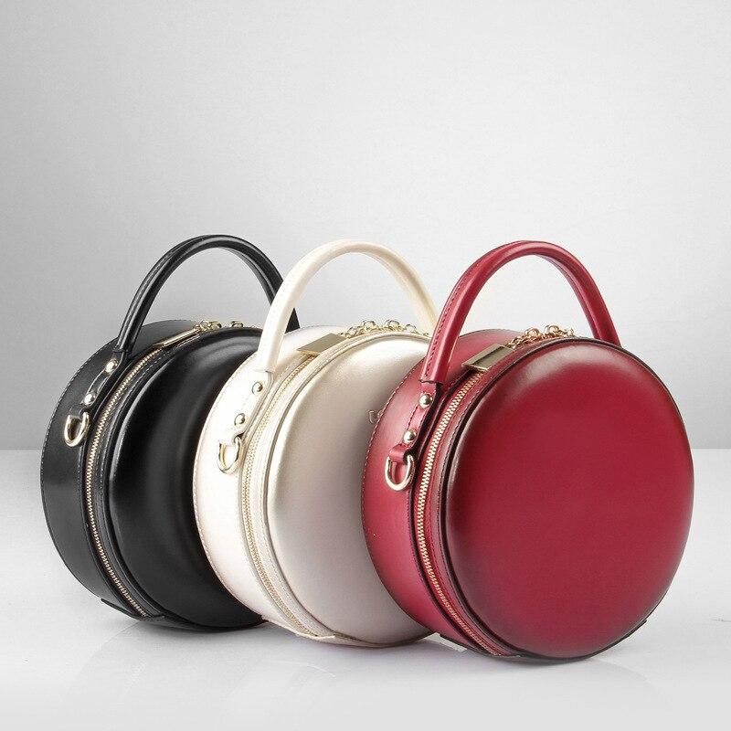 Célèbre marque Vintage femmes en cuir véritable sacs à main dames partie épaule bandoulière sacs Designer de mode femme Mini sac rond-in Sacs à bandoulière from Baggages et sacs    2