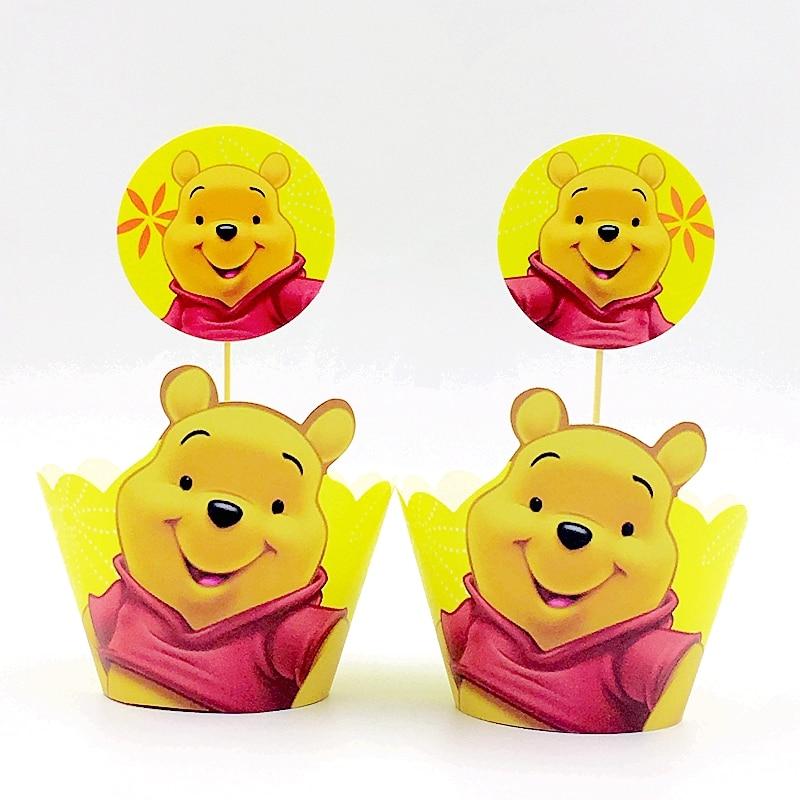 24pcs Cute Bear Winnie Pooh Cupcake Wrapper Topper Bag