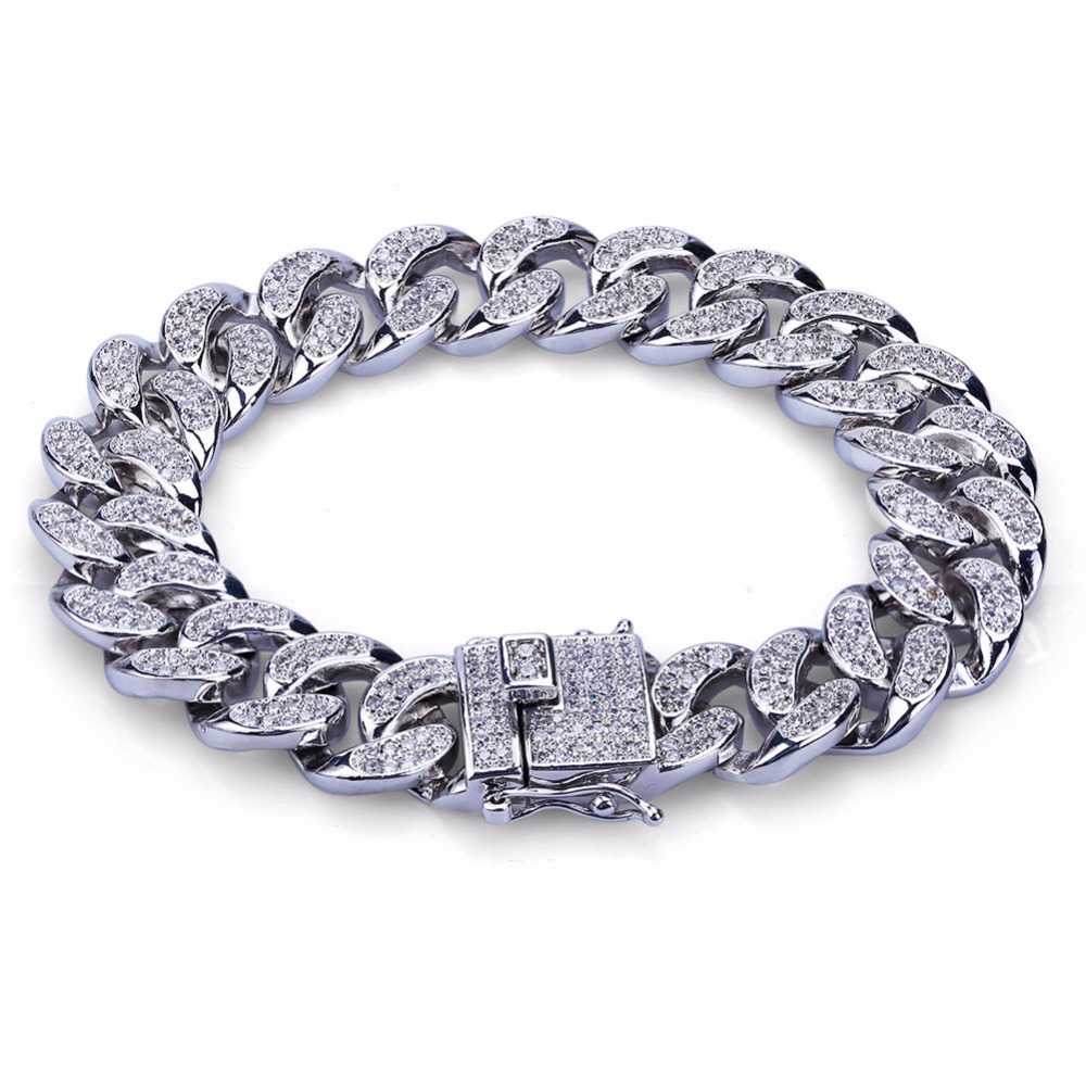 14mm Miami Curb Cuban Chain Bracelet For Men Full Pave Rhinestones Mens Hip Hop Bling Iced Out CZ Bracelets Rapper Jewelry