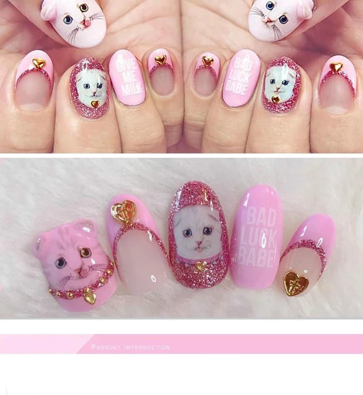 1 Sheet Pink Flower 3d Nail Art Transfer Stickers Cute Cat Nail