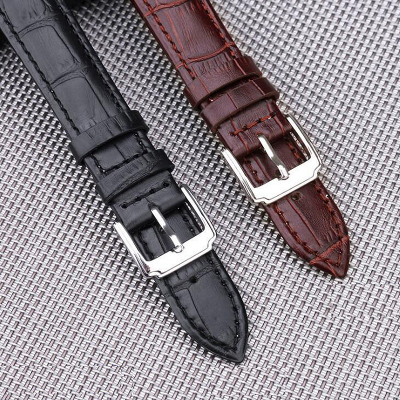 neway Echtes Leder Uhrenarmband Armband 16 18mm 20mm 22mm 24mm Stahlschnalle Ersatz Armband Gürtel Männer Frauen Schwarz Braun
