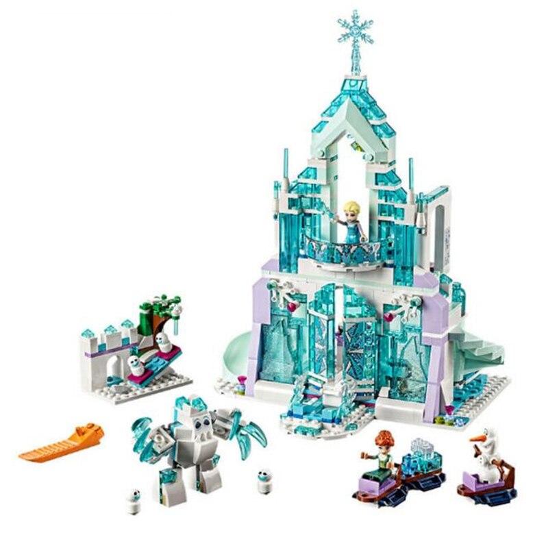 ФОТО 25002 731pcs magic ice snow castle building blocks princess castle girl assemble education hands hands toys small particles birt