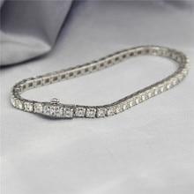 Total 6CTW Moissanites Diamond Lab Grown Gemstone 14k White Gold Box Chain Bracelet Fine Jewelry Diamond Bracelet Wedding Set
