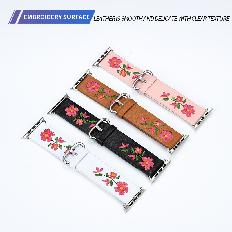 Genuine Leather Watchband For Apple Watch 38mm 42mm Red Flower Embroidery Women Men Replace Bracelet Strap Band For Iwatch 1 2 3