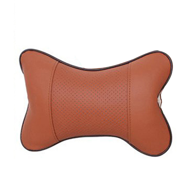 Car home dual-use car Danny leather headrest Car interior bone neck pillow Car seat breathable massage pillow Seat Supports