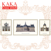 KAKA Cross stitch kits Embroidery needlework sets with printed pattern,11CT canvas,Home Decor for garden House,5D Architecture